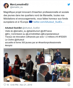 Tweet de Marc Le Maitre EU